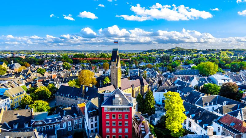 Aerial view of the historic city of Maastricht in the Netherlands as seen from the tower of the St.John Church. Aerial view of the historic city of Maastricht in royalty free stock images