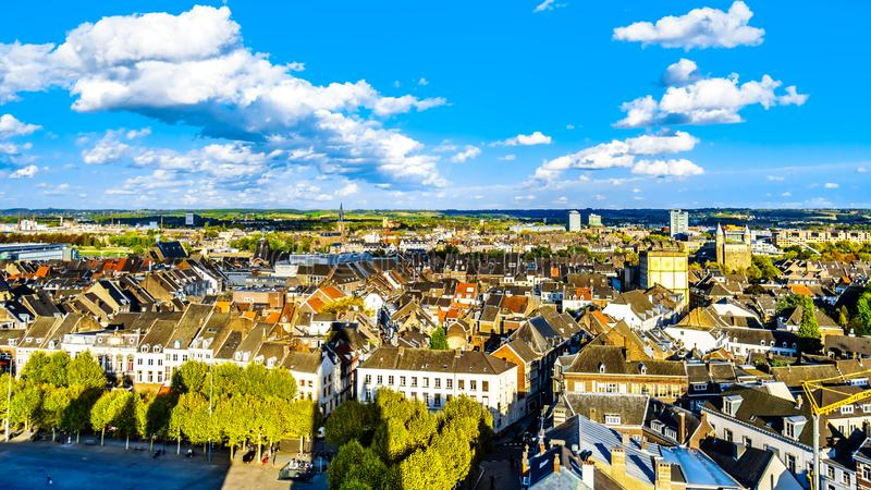 Aerial view of the historic city of Maastricht in the Netherlands as seen from the tower of the St.John Church. Aerial view of the historic city of Maastricht in royalty free stock photos