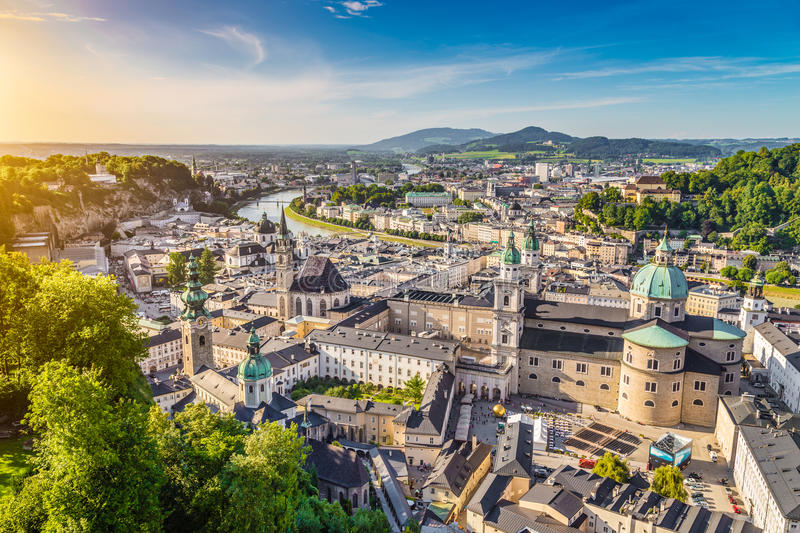 Aerial view of the historic city of Salzburg, Austria stock photo