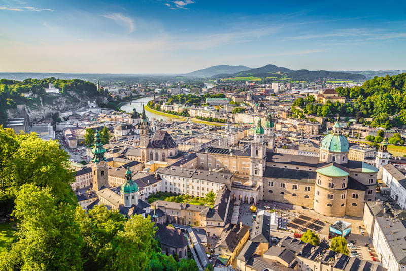 Aerial view of the historic city of Salzburg, Austria royalty free stock photography