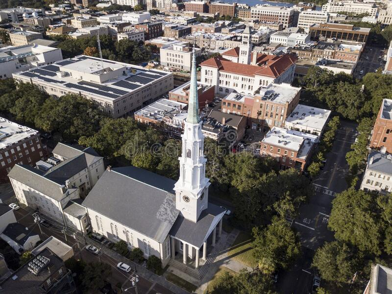 Aerial view of historic downtown Savannah, Georgia with church in foreground royalty free stock photography