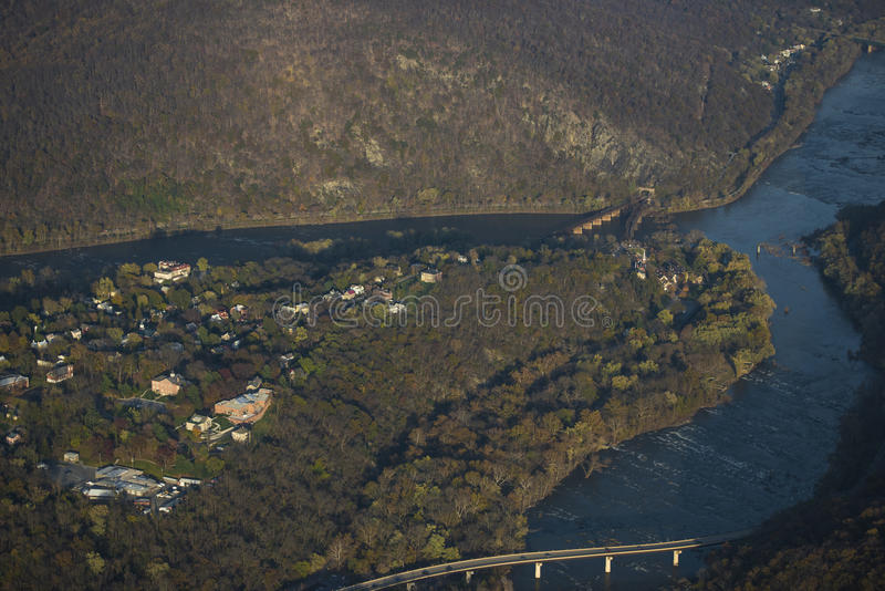 Aerial View of Harper's Ferry. Aerial View of Historic Harper's Ferry taken from Cessna 150-Aerobat, at confluence of Potomac and Shenandoah Rivers stock photo