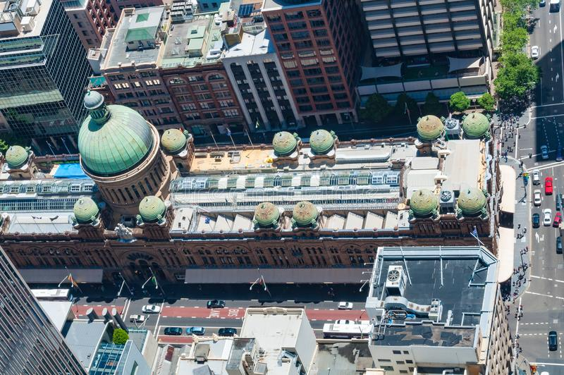 Aerial view of historic Queen Victoria Building in Sydney stock image