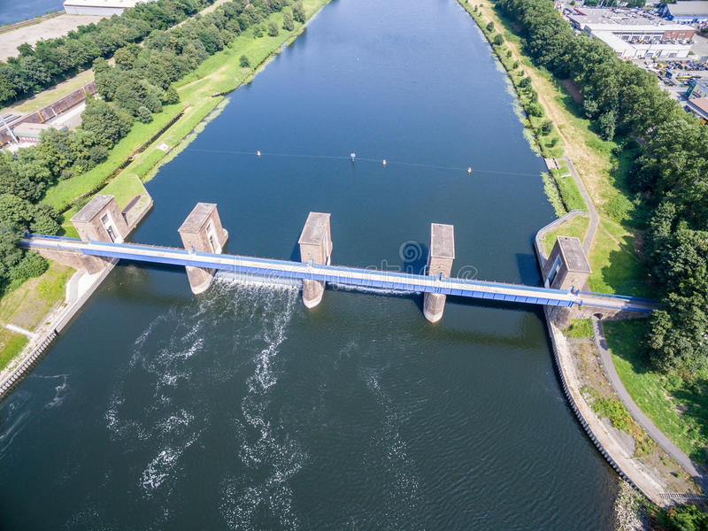 Download Aerial View Of The Historic Ruhr Weir In Duisburg Stock Photo - Image: 83703862