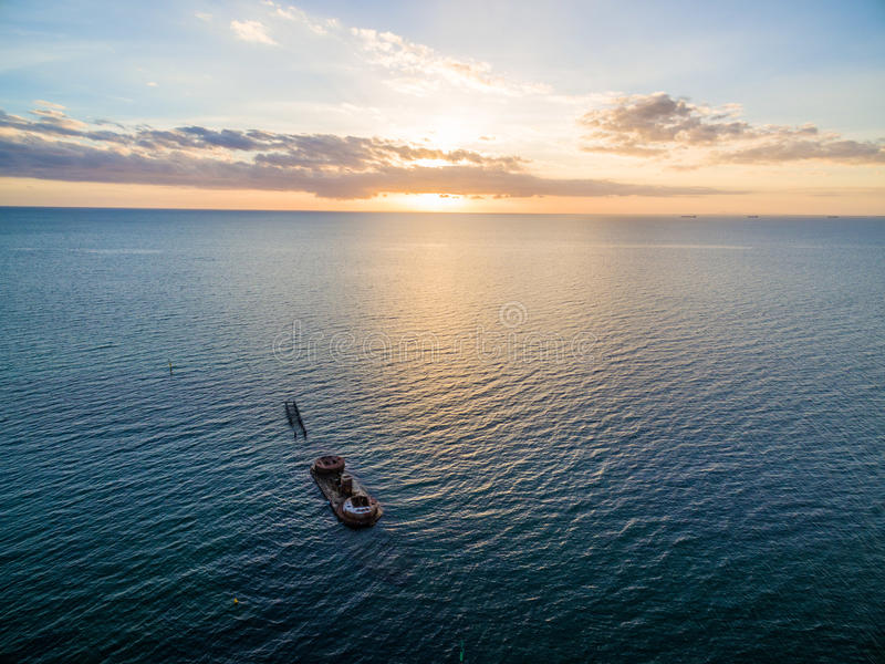 Aerial view of historic shipwreck of HMVS Cerberus at sunset. Melbourne, Victoria, Australia stock photography