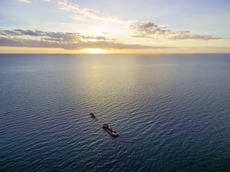 Aerial view of historic shipwreck of HMVS Cerberus at sunset. Melbourne, Victoria, Australia stock photos