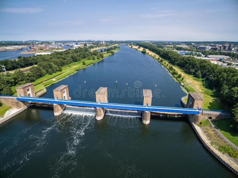 Download Aerial View Of A Historic Weir Stock Photo - Image: 83702872