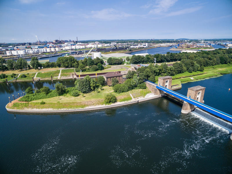 Download Aerial View Of A Historic Weir Stock Image - Image: 83703039