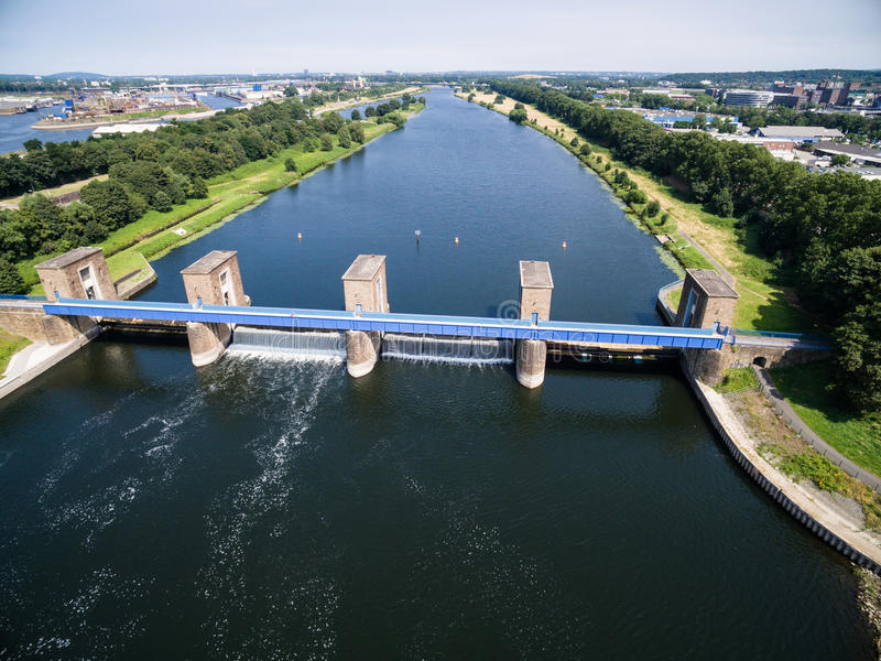 Aerial view of a historic weir stock photos