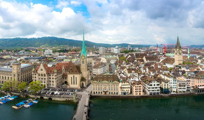 Aerial view of historic Zurich city with Fraumunster Church and river Limmat in Zurich, Switzerland stock photography