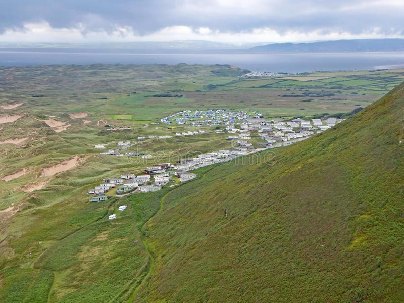 Holiday Park at Rhossili, Gower stock image