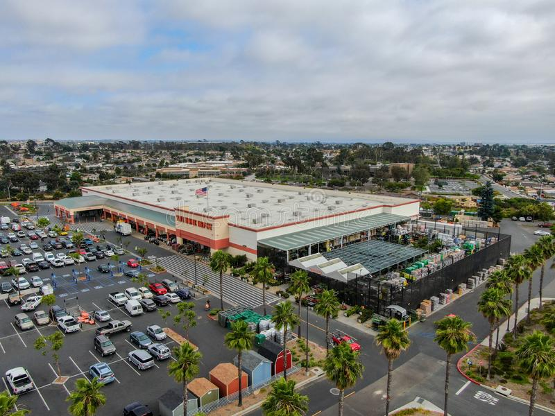 Aerial view of The Home Depot store and parking lot in San Diego, California, USA royalty free stock photos