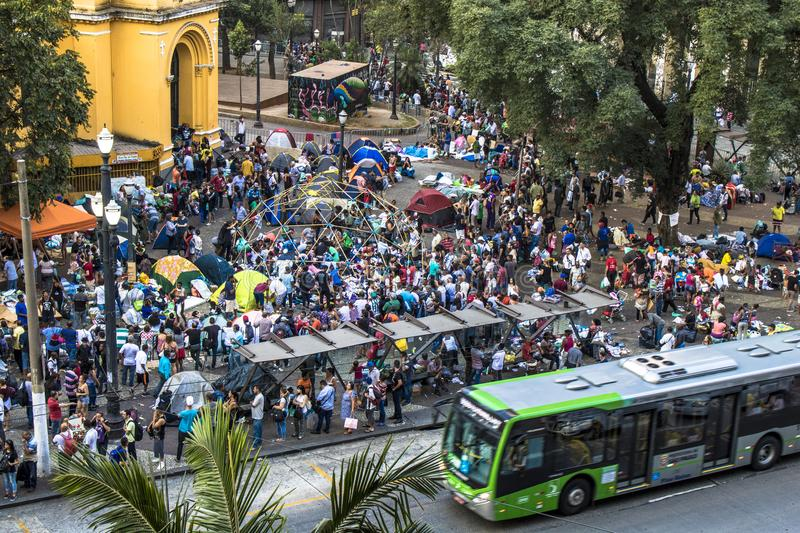 Aerial view of homeless family in paissandu Square. Sao Paulo, SP, Brazil, May 04, 2018. The camp of families occupying a building that collapsed due to a large stock photos