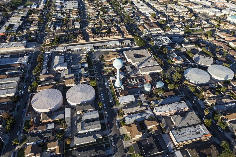Hawthorne California Aerial. Aerial of view of homes, streets and water tower in the Hawthorne neighborhood of Los Angeles County, California royalty free stock photo