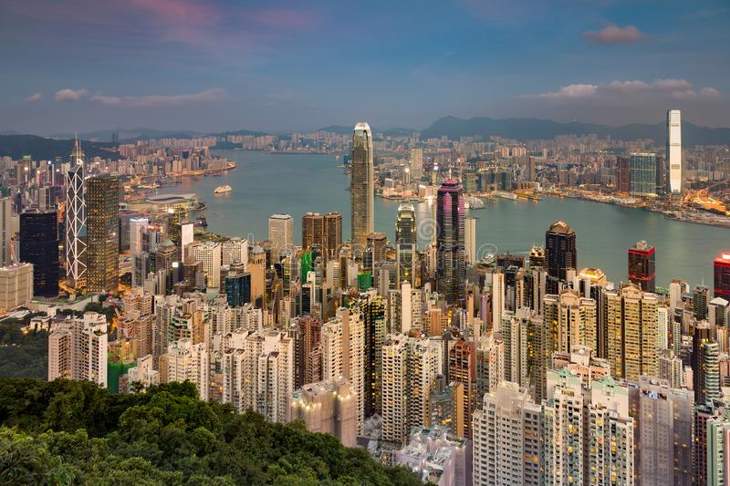 Aerial view Hong Kong crowded city central business downtown. Cityscape background stock photos