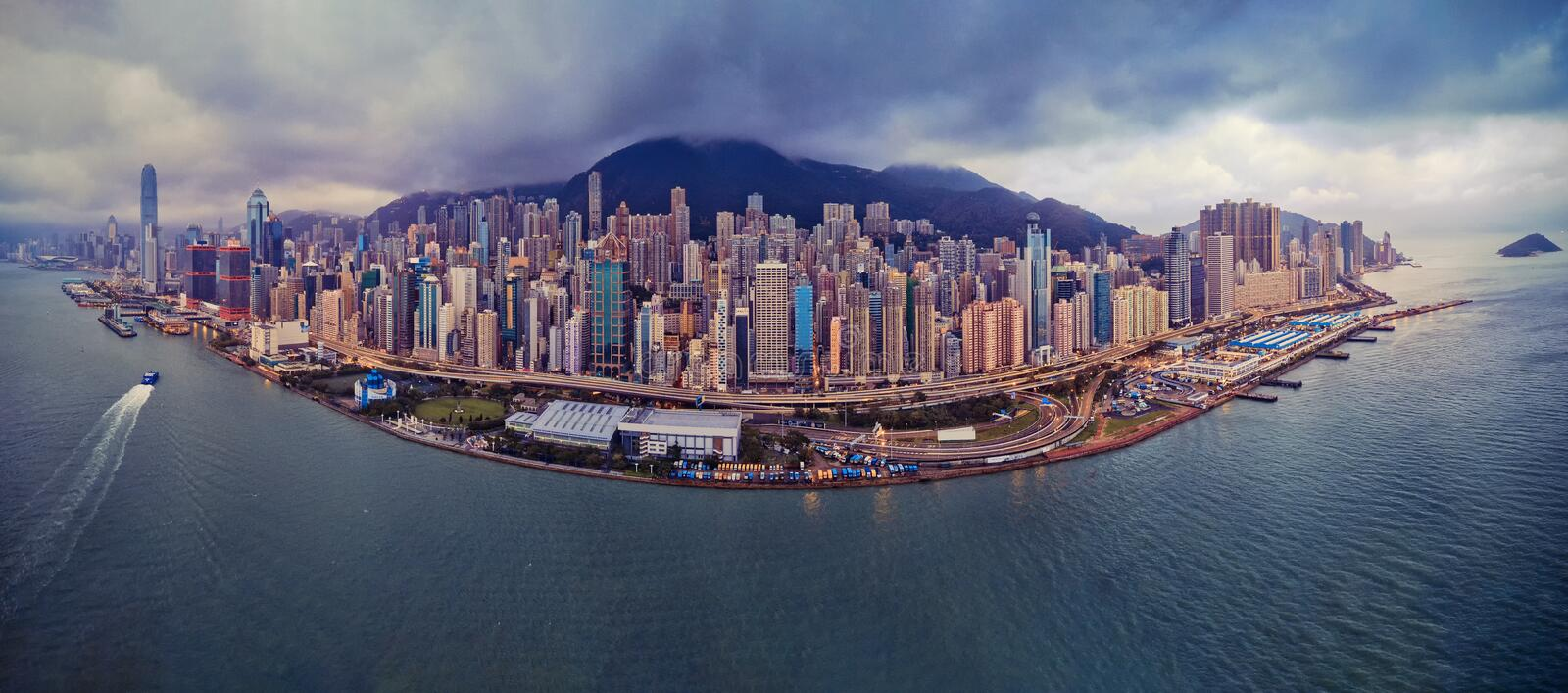 Aerial view of Hong Kong Downtown. Financial district and business centers in smart city in Asia. Top view of skyscraper and high. Rise buildings. Panorama view stock images