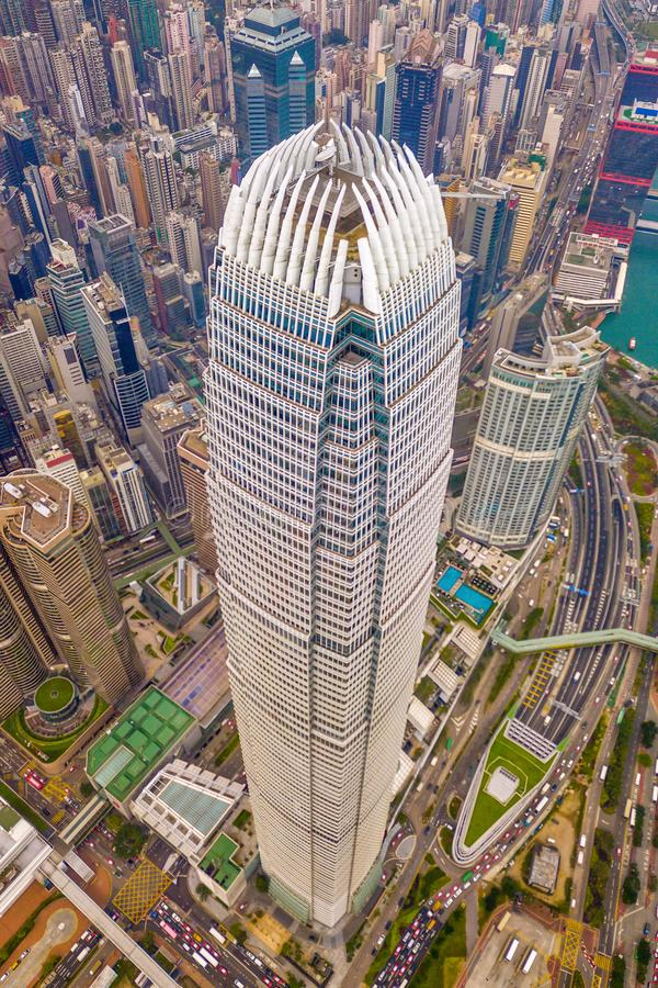 Aerial view of Hong Kong Downtown. Financial district and business centers in smart city and technology concept. skyscraper and stock image