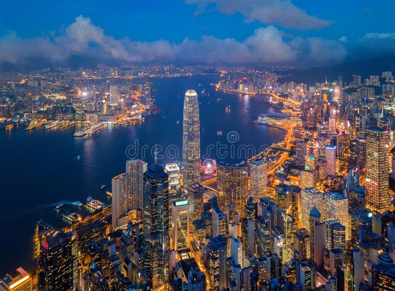 Aerial view of Hong Kong Downtown. Financial district and business centers in smart city, technology concept. Top view stock images