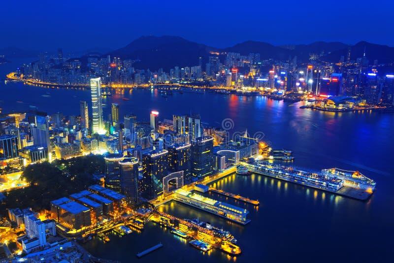 Aerial view of Hong Kong harbor. From Kowloon island royalty free stock photo