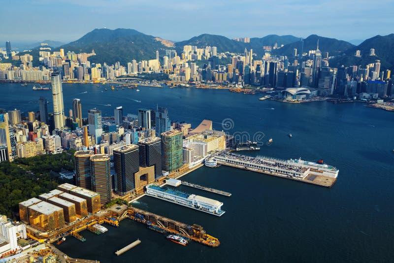 Aerial view of Hong Kong harbor. From Kowloon island royalty free stock photos