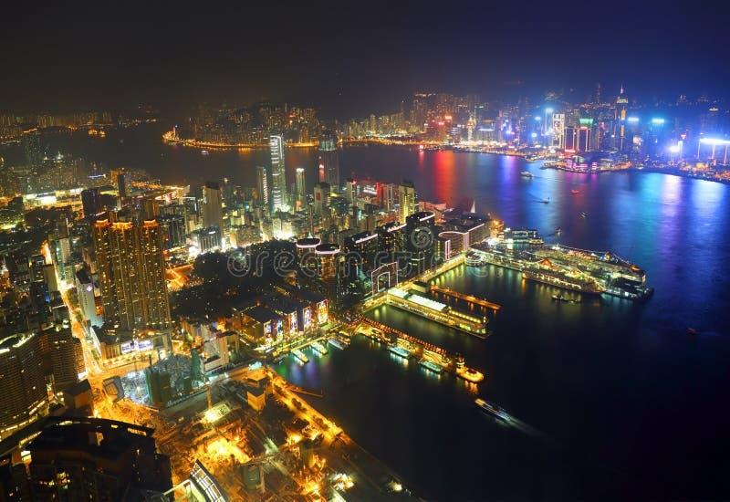 Aerial view of Hong Kong at night stock images