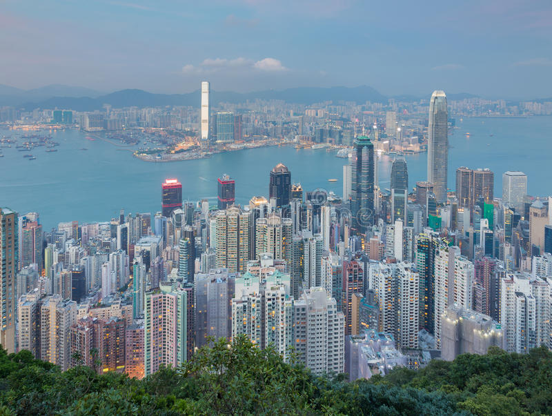 Aerial view, Hong Kong office building over Victoria Bay stock image