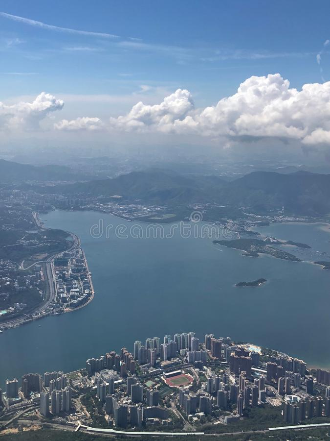 Aerial view of Hong Kong from the sky royalty free stock images