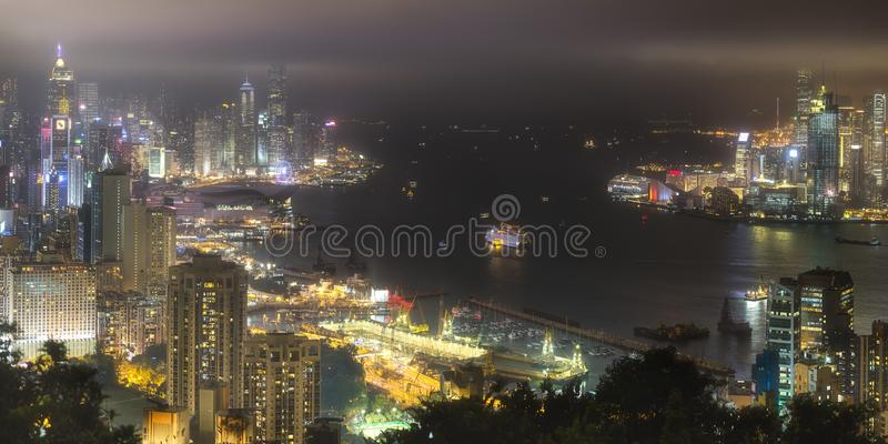 Download Aerial View Of Hong Kong Skyline And Harbour Stock Photo - Image of motion, business: 111138620
