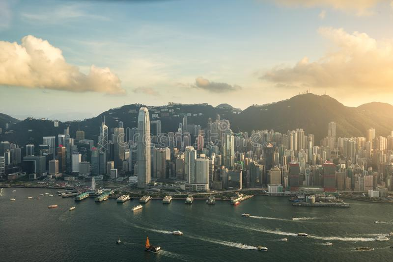 Aerial view of Hong Kong skyline and Victoria Harbor with blue s. Ky in Hong Kong. Asia stock image
