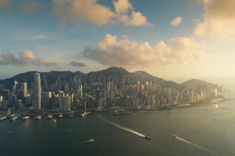 Aerial view of Hong Kong skyline and Victoria Harbor during suns. Et in Hong Kong. Asia stock photo