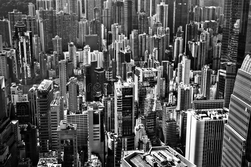 Aerial view of the Hong Kong. Aerial view of the skyscrapers of Hong Kong royalty free stock photography