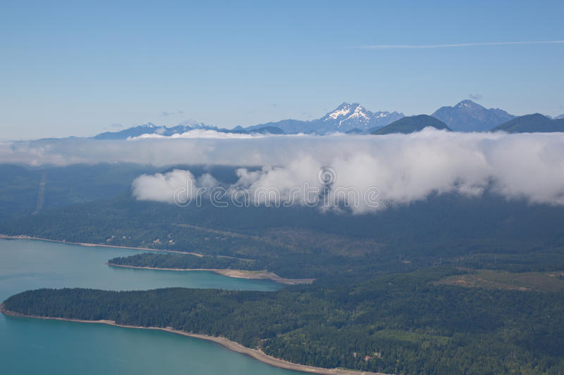 Aerial View of Hood Canal and Olympic Mountains royalty free stock photos