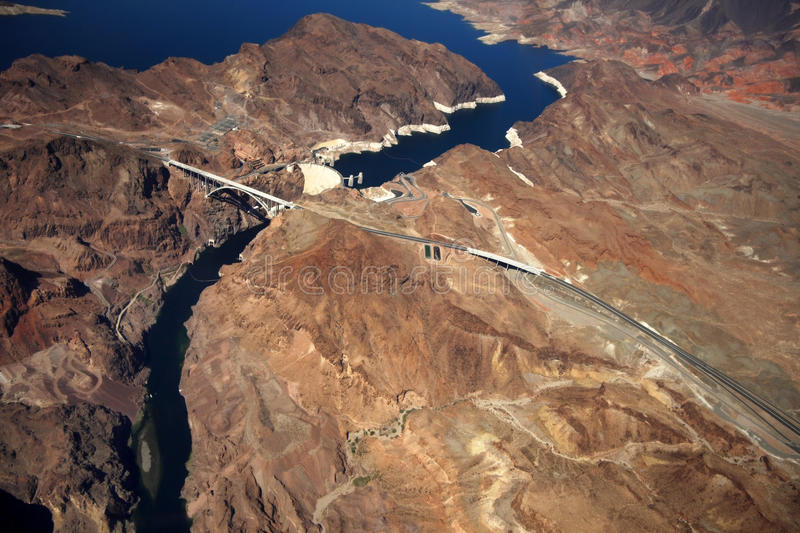 Download Aerial view of Hoover Dam stock photo. Image of arch - 26397176