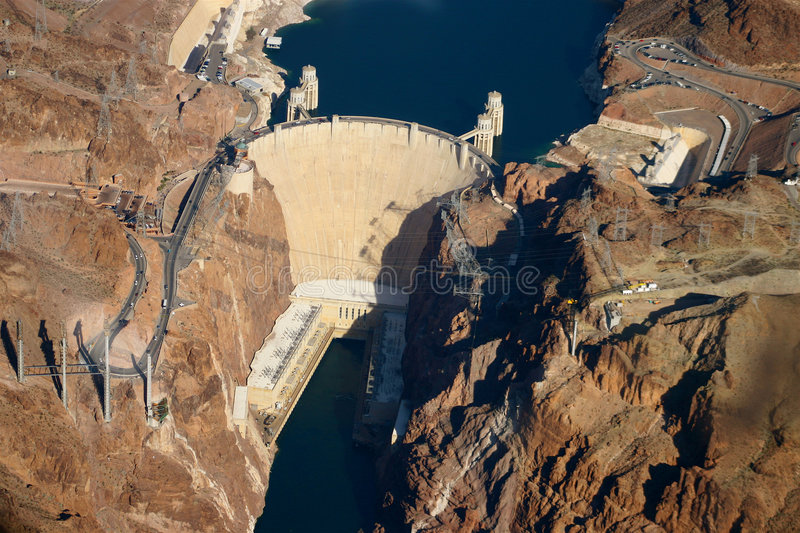 Aerial View of Hoover Dam. Aerial photography of Hoover Dam showing both Nevada and Arizona sides royalty free stock image