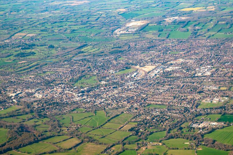 Aerial view of Horsham, East Sussex, UK. Aerial view showing the town of Horsham and the surrounding countryside royalty free stock photography
