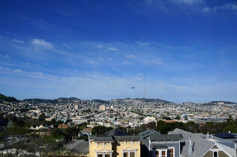 Aerial view of Houses, Cars. Cityscape, streets, and mountians of San Francisco stock image
