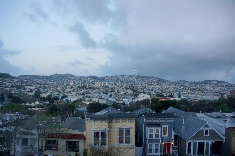 Aerial view of Houses, Cars. Cityscape, streets, and mountians of San Francisco stock photos