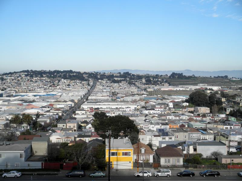 Aerial view of Houses, Cars and streets of San Francisco royalty free stock photo