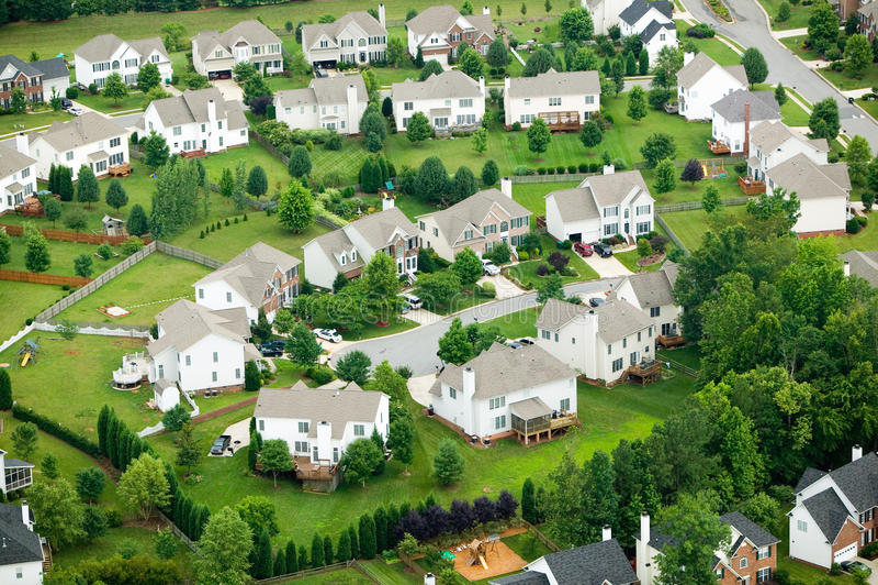 Aerial view of housing development stock photo