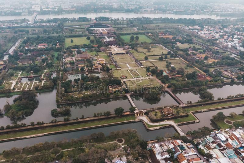 Aerial view of the Hue Citadel in Vietnam. Imperial Palace moat,Emperor palace complex, Hue Province, Vietnam royalty free stock photos