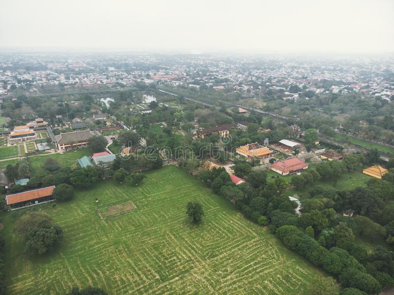 Aerial view of the Hue Citadel in Vietnam. Imperial Palace moat,Emperor palace complex, Hue Province, Vietnam stock images