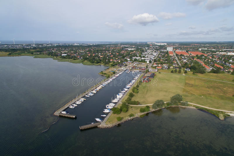 Aerial view of Hvidovre harbour, Denmark. Aerial view of Hvidovre harbour located in Zealand, Denmark stock photo