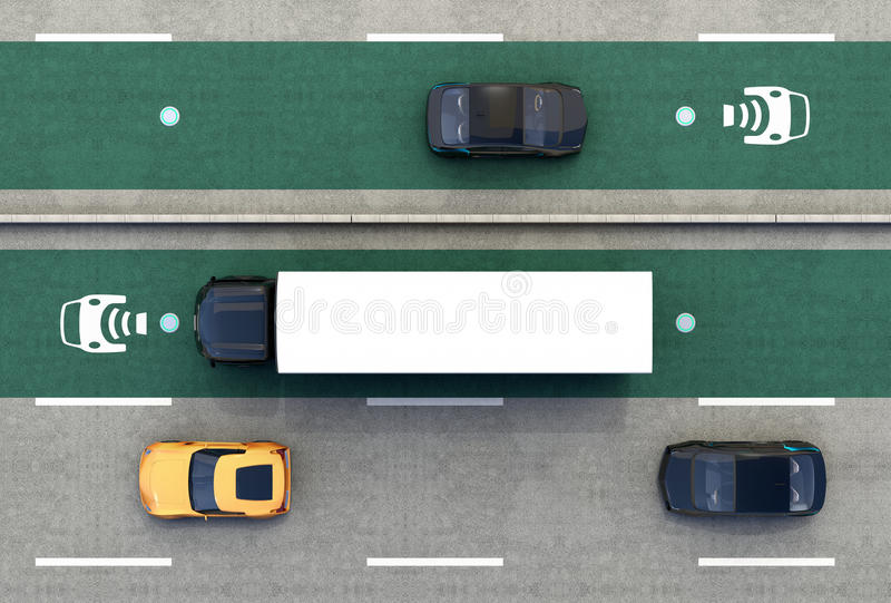 Aerial view of hybrid truck and blue electric car on wireless charging lane royalty free illustration
