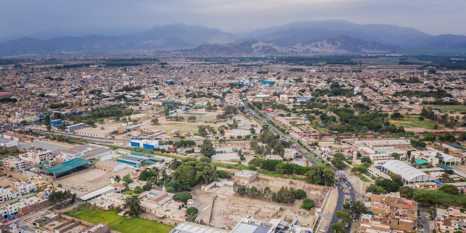Aerial view of Ica city in Peru royalty free stock photography