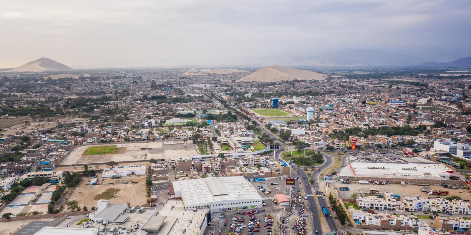 Aerial view of Ica city in Peru royalty free stock image