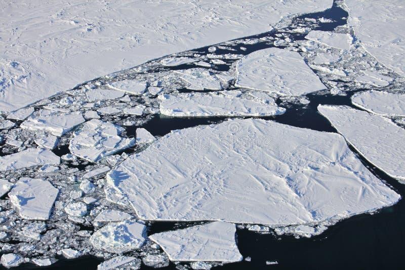 Aerial view of iceberg. In frozen Arctic Ocean stock photo