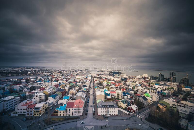 Aerial view of Iceland village royalty free stock image