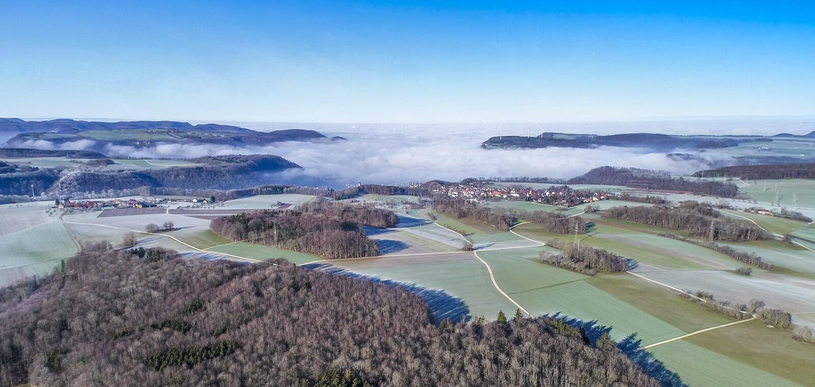 Aerial view of idyllic rural villages Hofstett am Staig and Weiler, Swabian Alb, Germany. Germany royalty free stock image