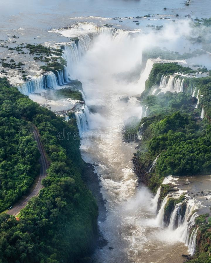 Aerial View of Iguazu Falls on the Border of Argentina and Brazil stock image