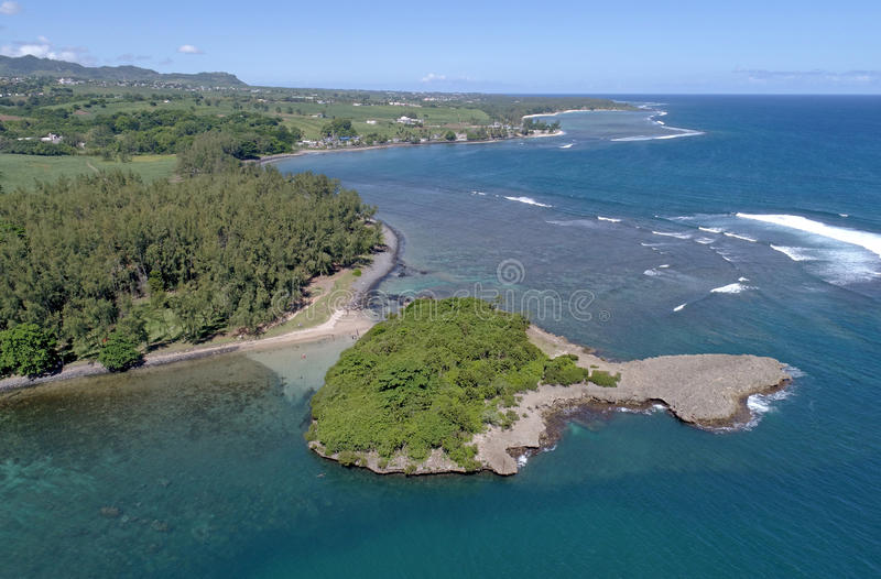 Aerial view of Ilot Sanchot Mauritius stock images